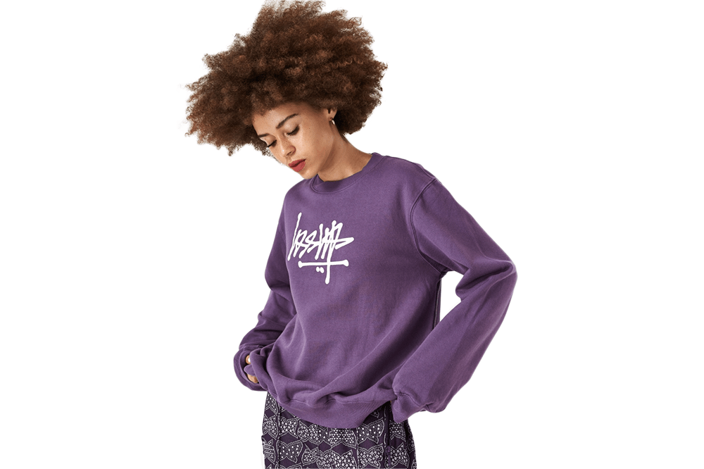 Stussy's Flip Crew Fleece in Berry Front View