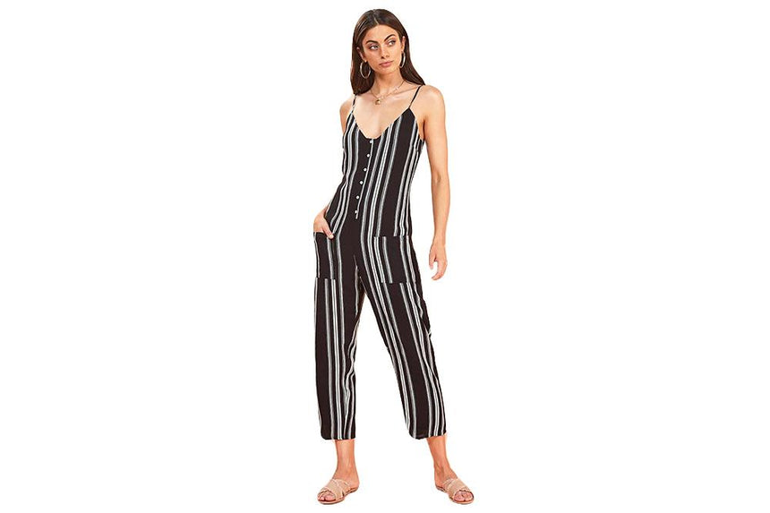 ON THE LINE JUMPSUIT - IM19S2464 WOMENS SOFTGOODS MINK PINK
