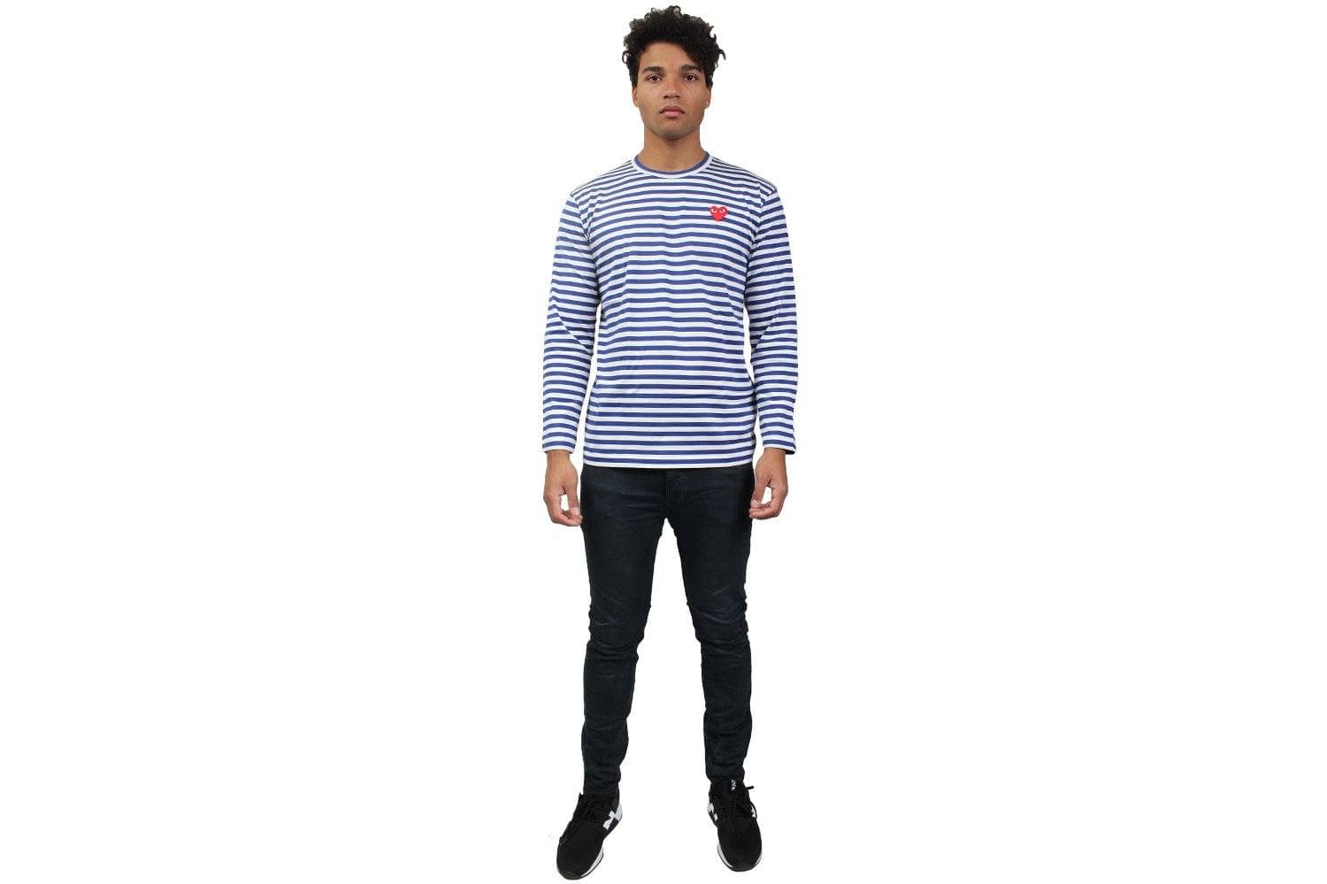 BLUE STRIPE RED HEART LONGSLEEVE MENS SOFTGOODS COMME DES GARCONS