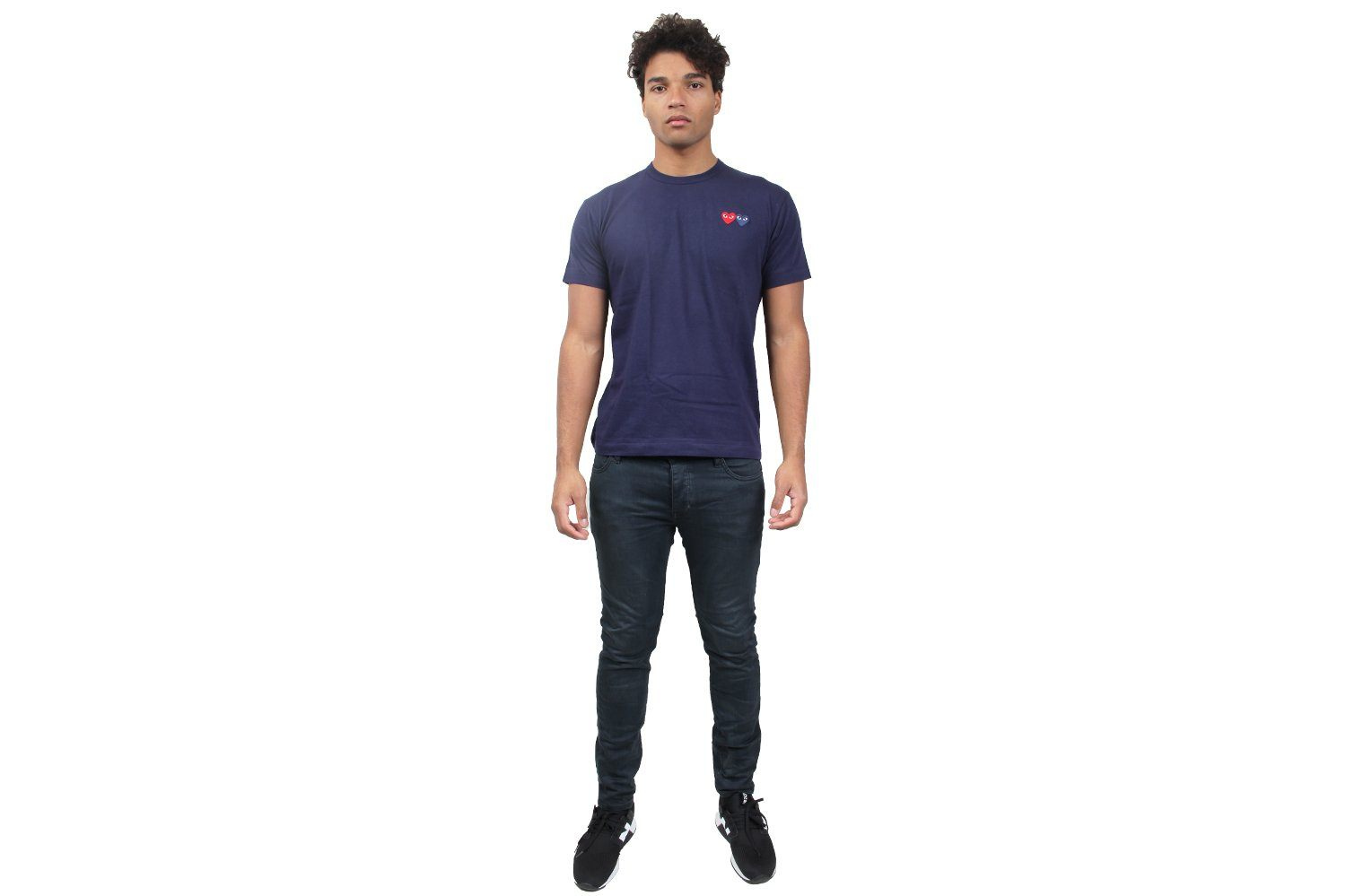 DARK NAVY DOUBLE HEART TEE MENS SOFTGOODS COMME DES GARCONS