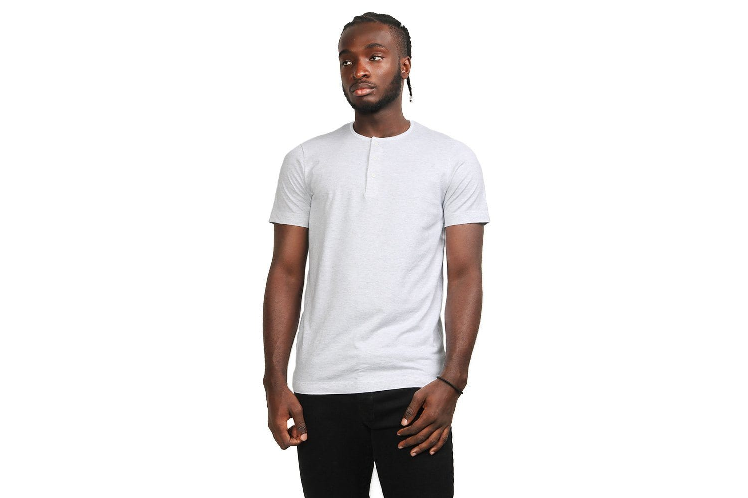 KNIT PIMA JERSEY HENLEY-WI-1132 MENS SOFTGOODS WINGS+HORNS H.WHITE L