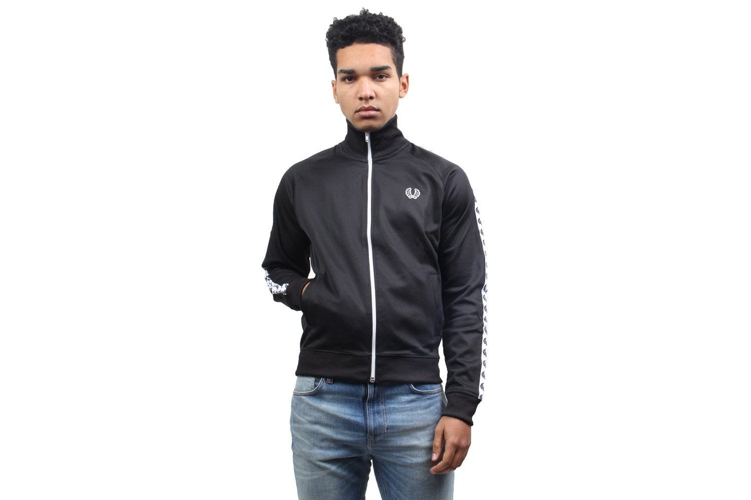TAPED TRACK JACKET MENS SOFTGOODS FRED PERRY BLACK XL