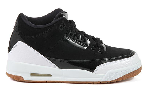 AIR JORDAN 3 RETRO GG - 441140-022 WOMENS FOOTWEAR JORDAN BLACK/ WHITE- GUM MED BROWN 7Y