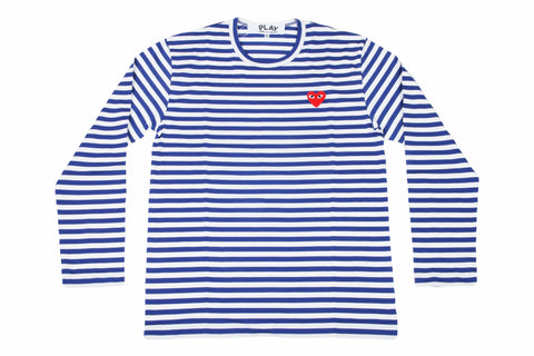 BLUE STRIPE RED HEART LONGSLEEVE