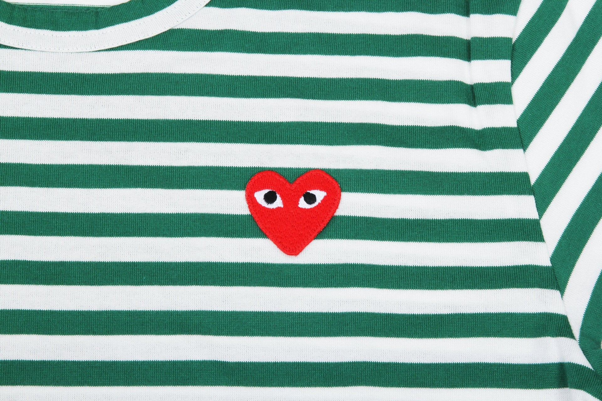 GREEN STRIPE RED HEART LONGSLEEVE MENS SOFTGOODS COMME DES GARCONS