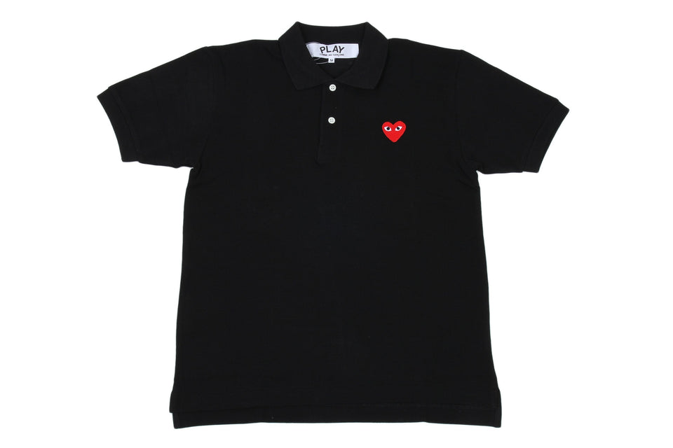 SMALL HEART POLO BLK/RED MENS SOFTGOODS COMME DES GARCONS BLACK/RED S