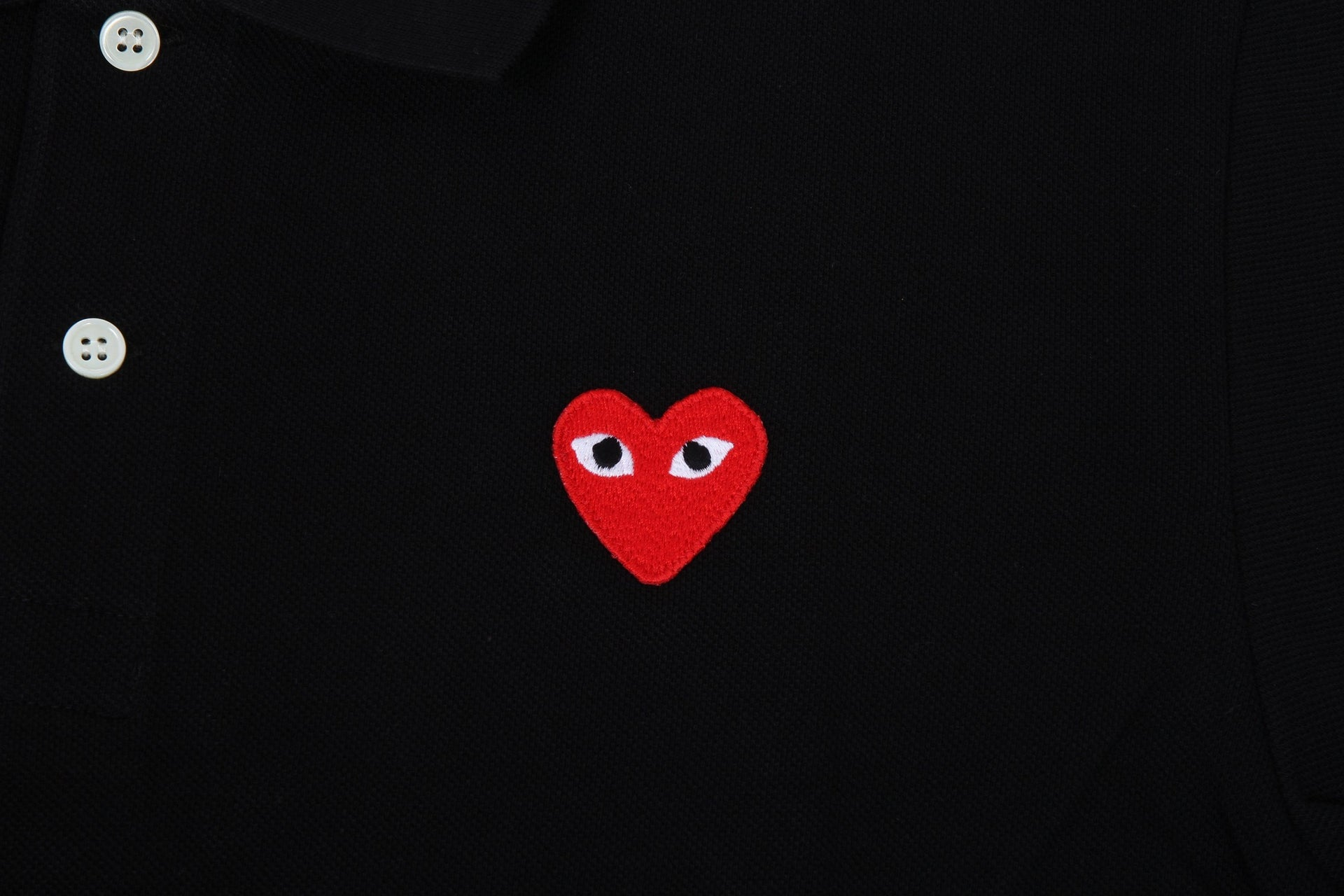 SMALL HEART POLO BLK/RED MENS SOFTGOODS COMME DES GARCONS