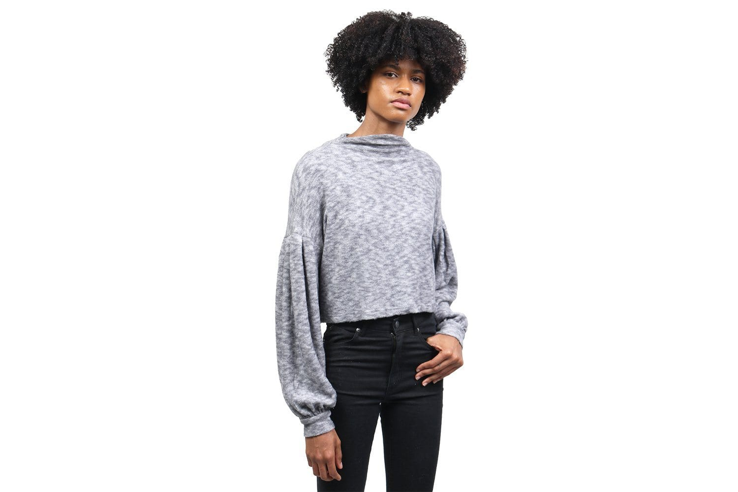 BRUSHED BALLOON SLEEVE TOP WOMENS SOFTGOODS MINK PINK GREY MARLE XS