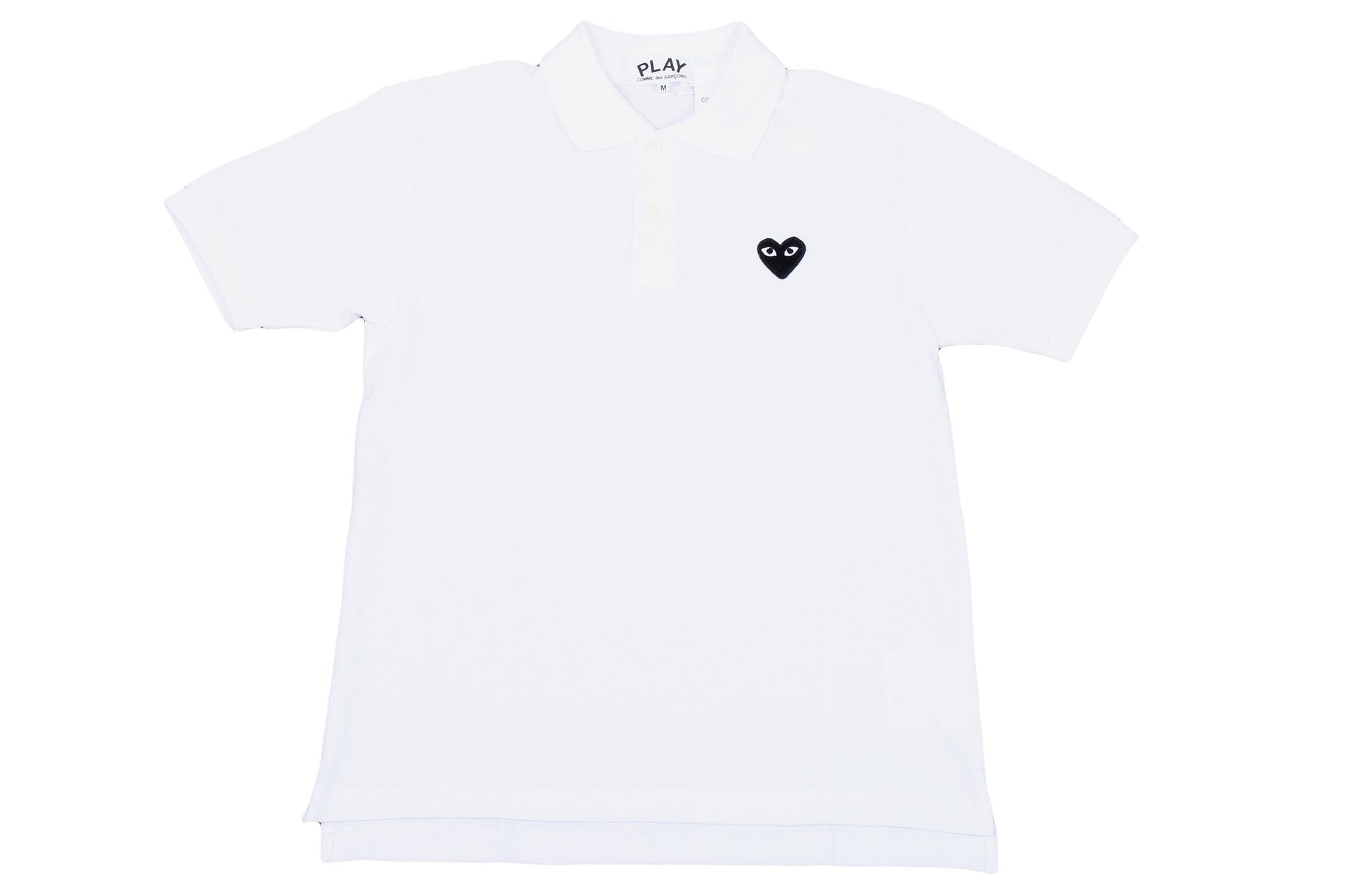 SMALL BLACK HEART WHITE POLO MENS SOFTGOODS COMME DES GARCONS