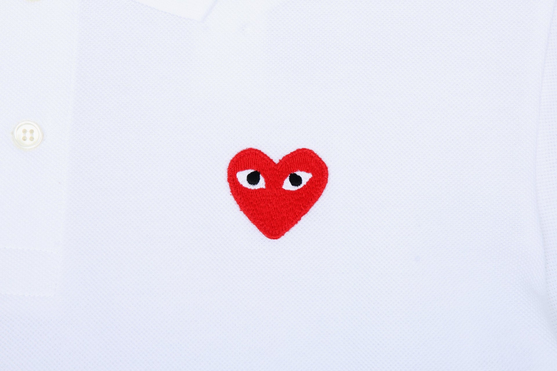 SMALL RED HEART WHITE POLO MENS SOFTGOODS COMME DES GARCONS