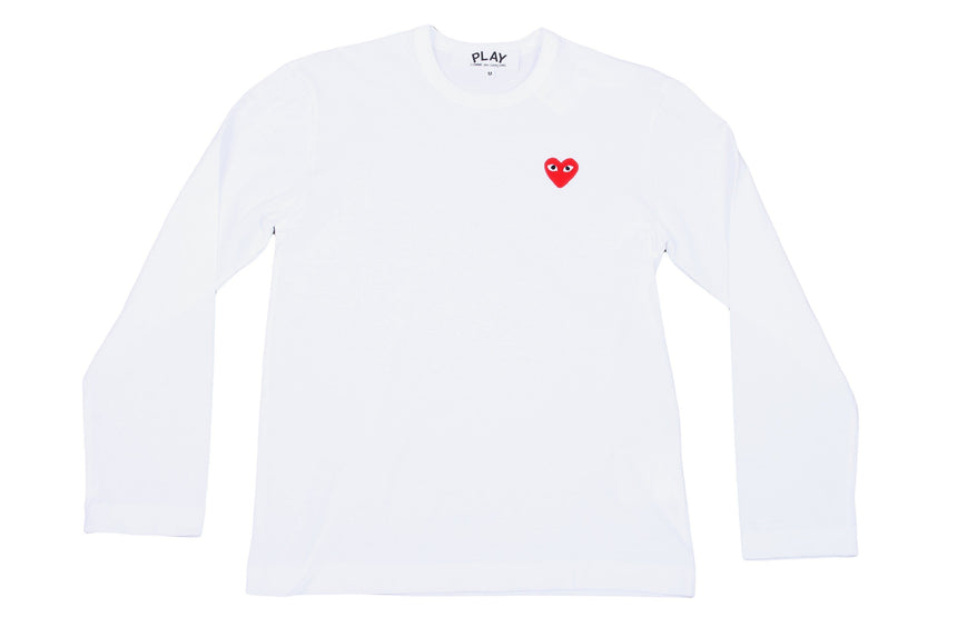RED EMBLEM / WHITE L/S SHIRT MENS SOFTGOODS COMME DES GARCONS WHITE/RED M