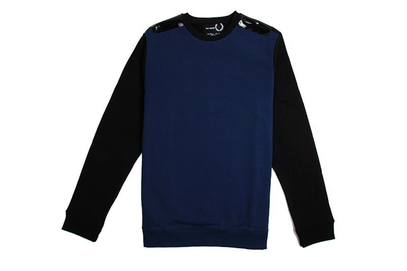 RAF SIMONS TAPE DETAIL SWEATER - SM3084 MENS SOFTGOODS FRED PERRY FRENCH NAVY 40 SM3084