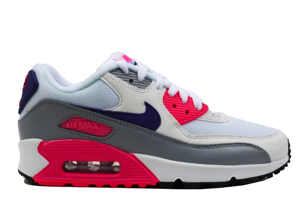 WMNS AIR MAX 90-325213-136 WOMENS FOOTWEAR NIKE WOMEN'S NIKE AIR MAX SHOE WHITE/COURT PURPLE-WOLF GREY-LASER PINK 5.5