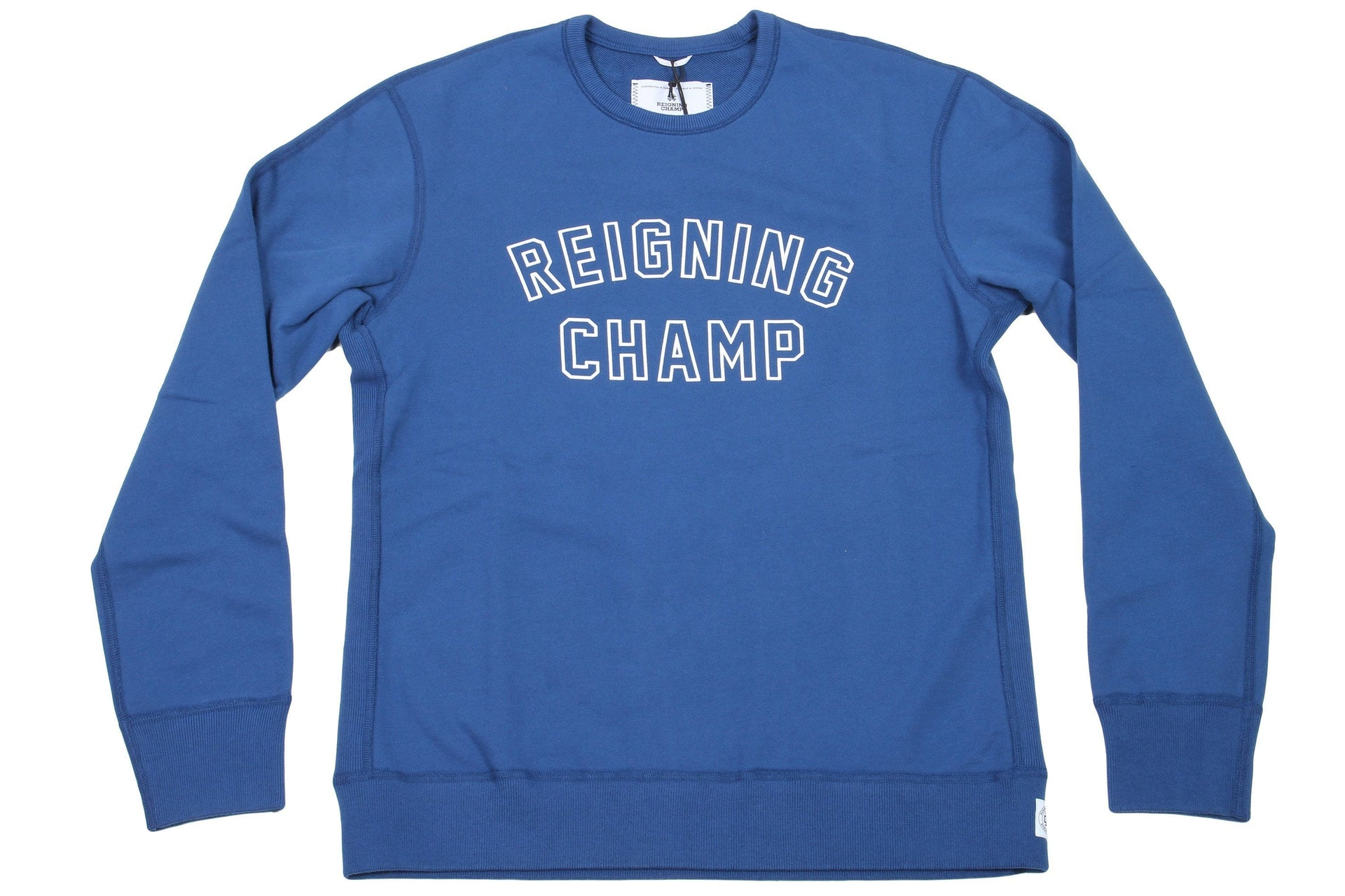 COURT BLUE/WHITE KNIT MID WT TERRY VARSITY CREWNECK RC-3480 MENS SOFTGOODS REIGNING CHAMP COURT BLUE/WHITE S RC-3480