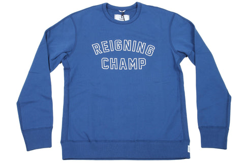 COURT BLUE/WHITE KNIT MID WT TERRY VARSITY CREWNECK RC-3480