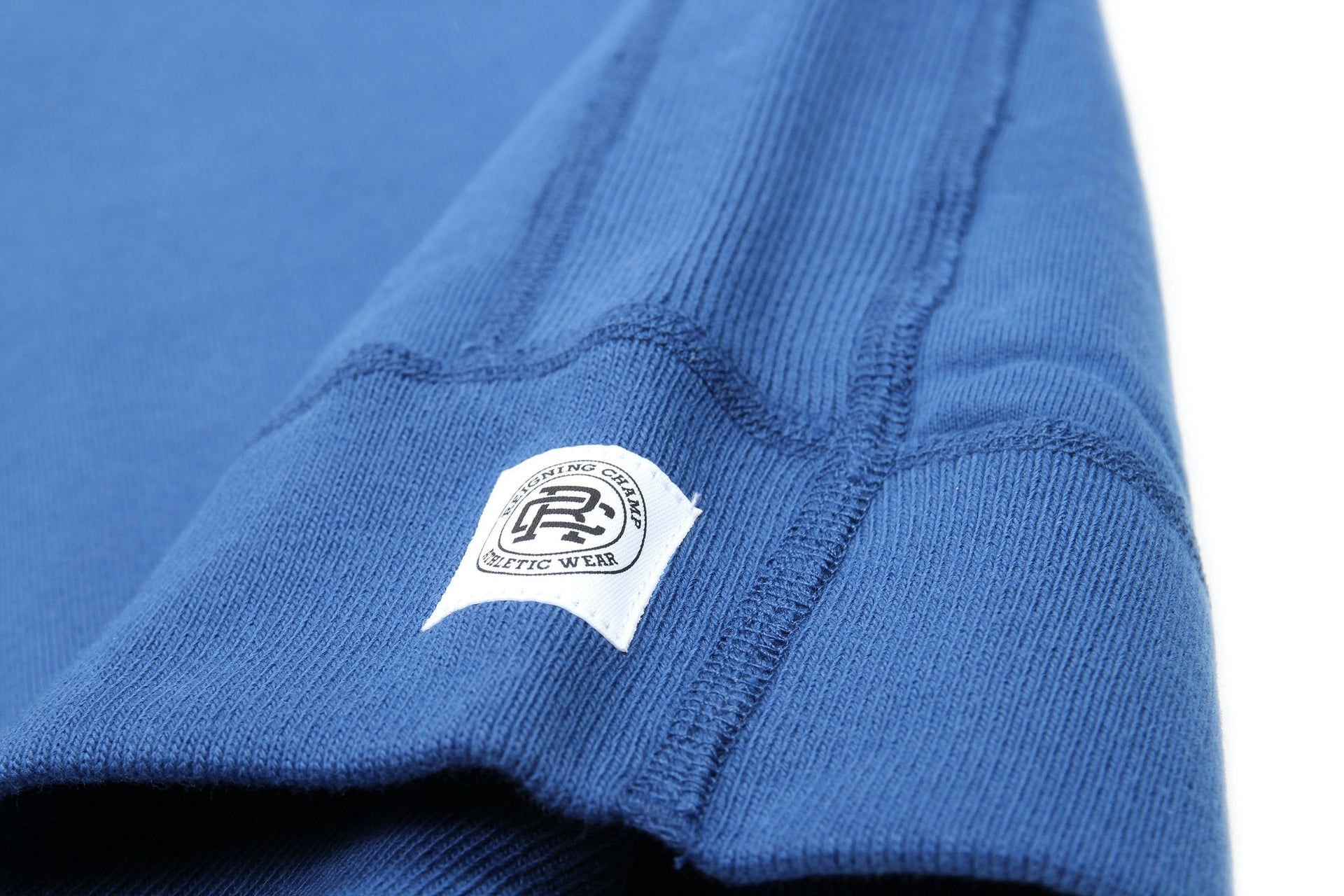 COURT BLUE/WHITE KNIT MID WT TERRY VARSITY CREWNECK RC-3480 MENS SOFTGOODS REIGNING CHAMP