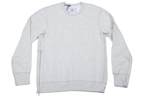 H. ASH KNIT MID WEIGHT TERRY SIDE ZIP LS CREWNECK