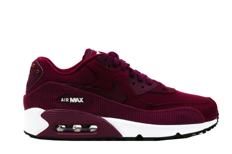 WMNS AIR MAX 90 LEA-921304-601 WOMENS FOOTWEAR NIKE BORDEAUX/BORDEAUX-BLKAC-WHITE 8.5
