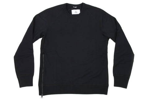 KNIT MID WEIGHT TERRY SIDE ZIP LS CREWNECK