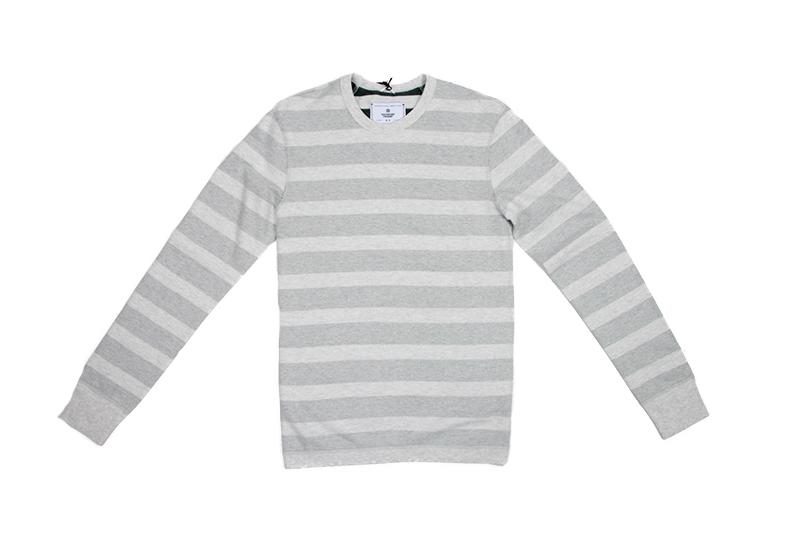 KNIT STRIPED TERRY REVERSIBLE CREWNECK - RC-3447 MENS SOFTGOODS REIGNING CHAMP H.ASH/ COURT GREEN S