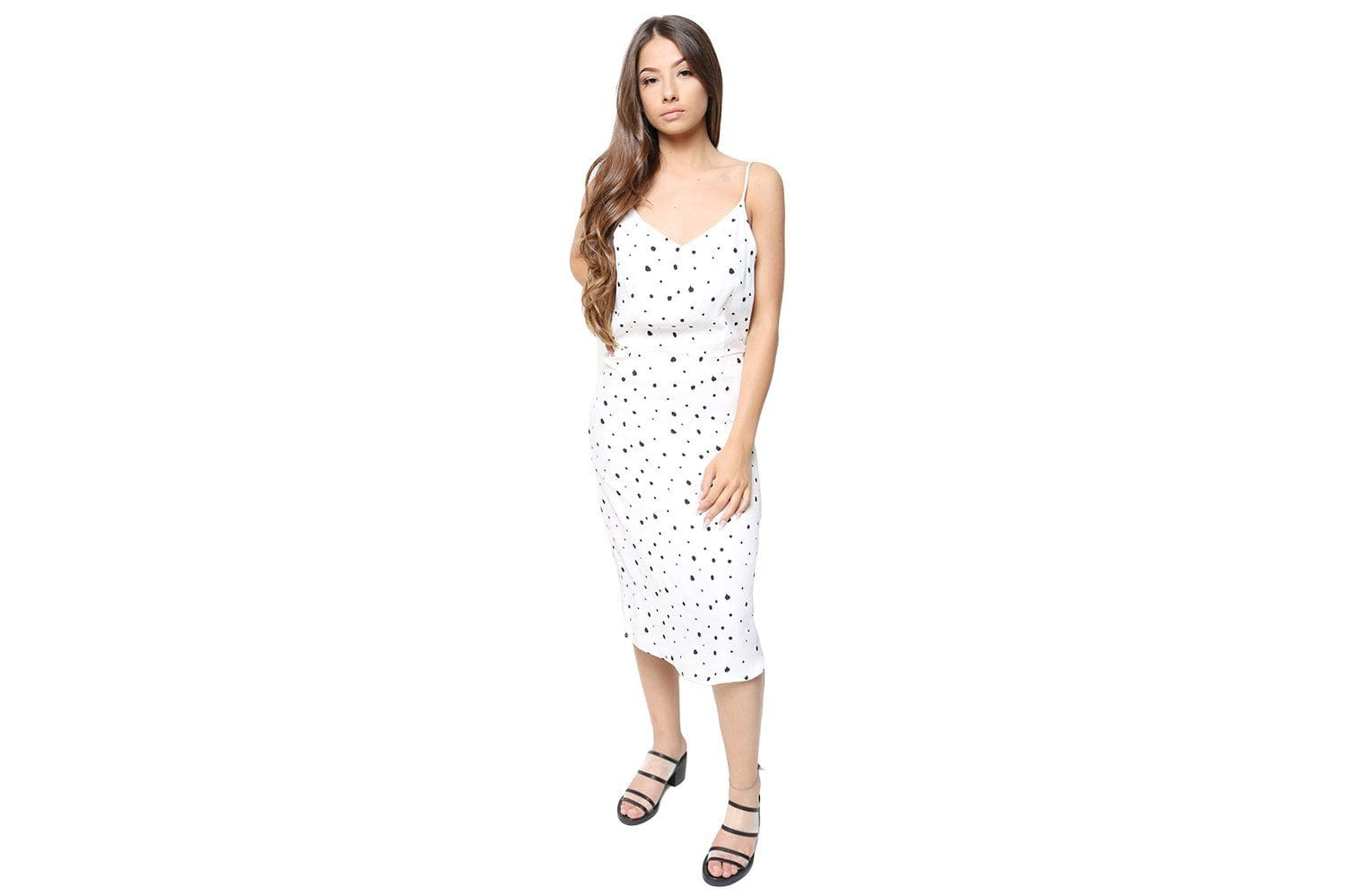 LAURA SLIP DRESS WOMENS SOFTGOODS JUST FEMALE DOT SPLASH AOP XS 10908