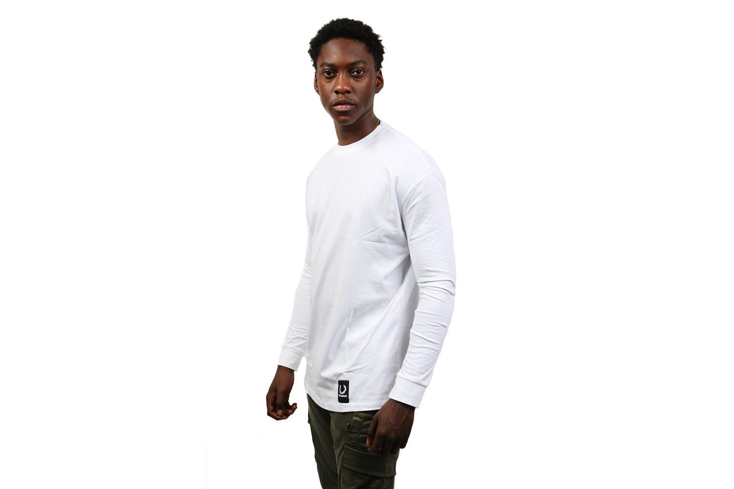 RS TAPE DETAIL L/S TEE - SM4105 MENS FRED PERRY WHITE NRML