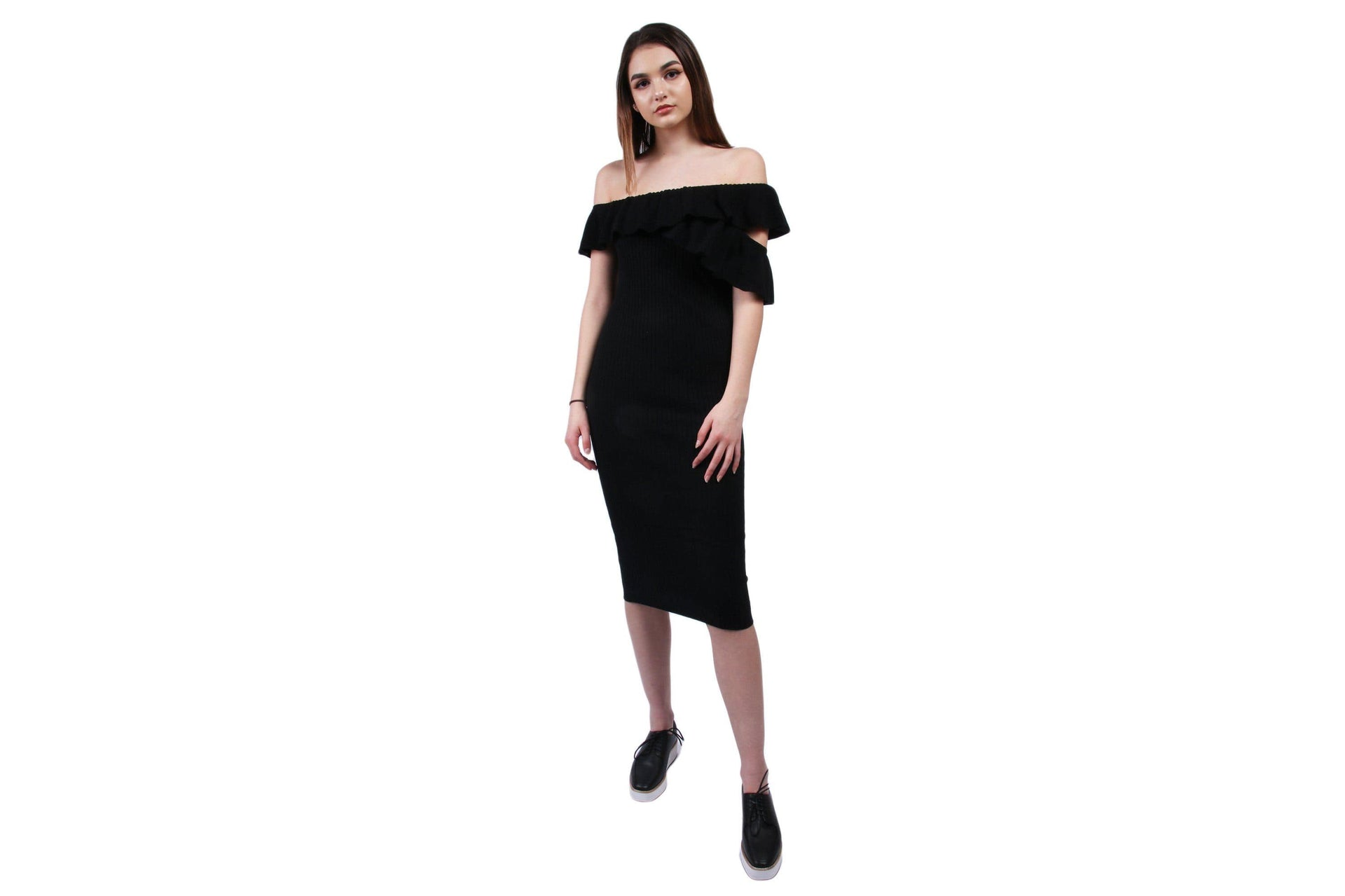 NEVER AGAIN ONE SHOULDER DRESS WOMENS SOFTGOODS MINK PINK BLACK XS IM18S1851
