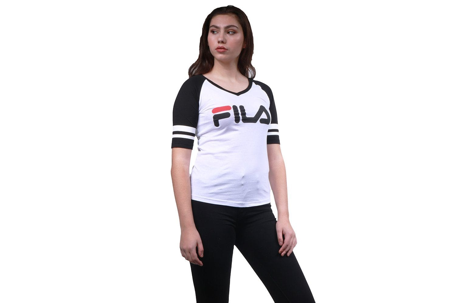 BASEBALL V NECK TEE- LW811892-121 WOMENS SOFTGOODS FILA
