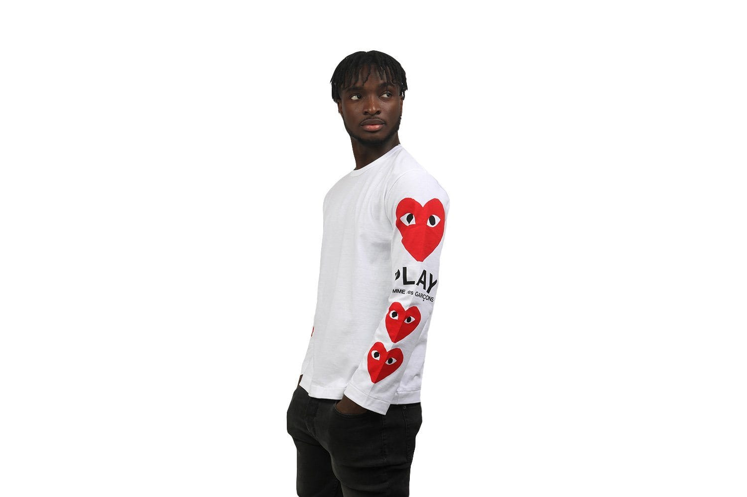 RED HEARTS RIGHT SLEEVE MENS SOFTGOODS COMME DES GARCONS