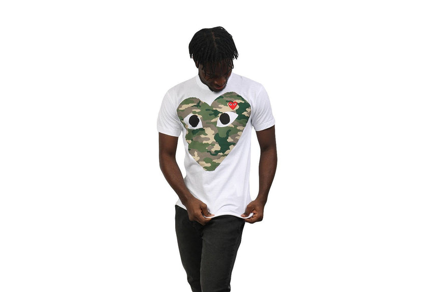 CAMOUFLAGE WITH SMALL RED HEART TEE MENS SOFTGOODS COMME DES GARCONS