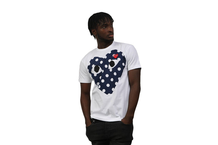 BIG BLUE POLKA DOT HEART TEE MENS SOFTGOODS COMME DES GARCONS