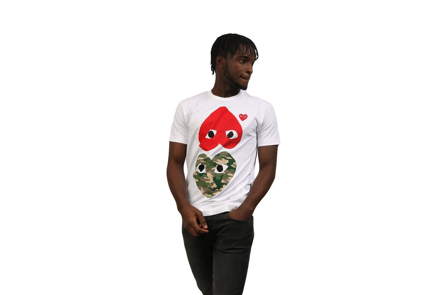 CAMOUFLAGE WITH UPSIDE DOWN RED HEART TEE MENS SOFTGOODS COMME DES GARCONS
