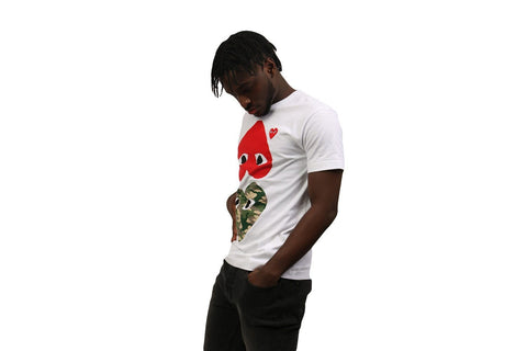 CAMOUFLAGE WITH UPSIDE DOWN RED HEART TEE - AZT248