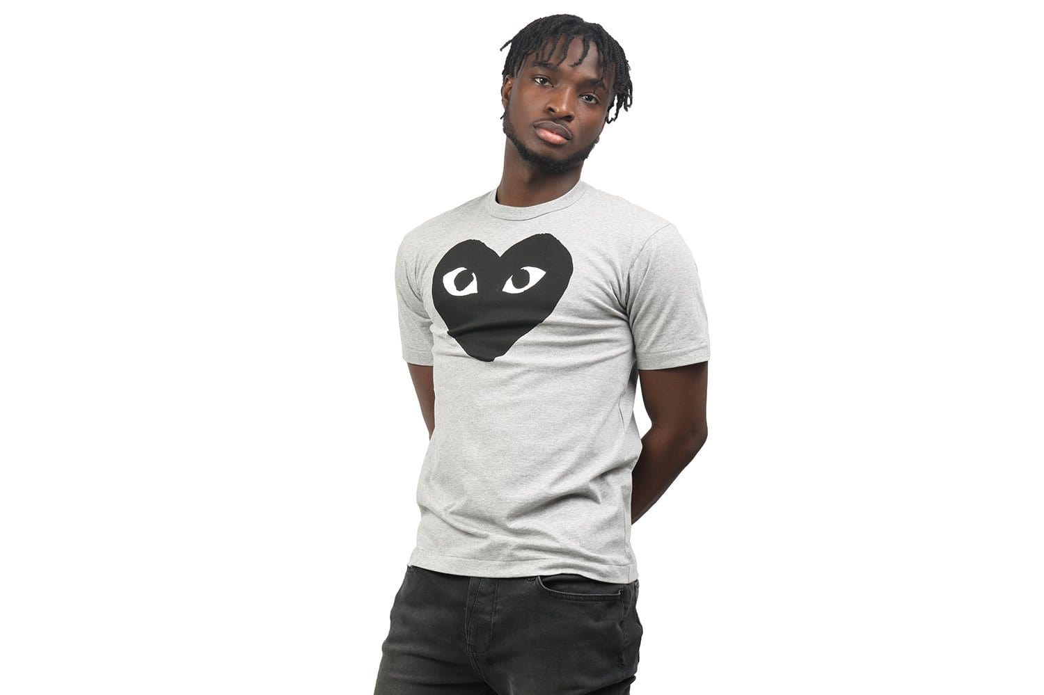 BIG HEART TEE GREY/BLACK MENS SOFTGOODS COMME DES GARCONS