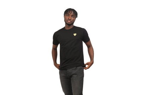 BLACK & GOLD HEART PATCH TEE-AZT216