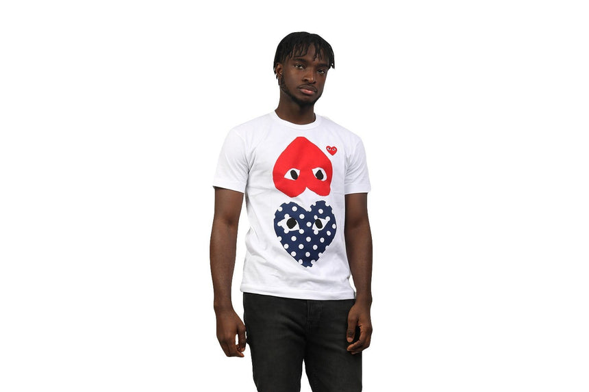 RED HEART BLUE POLKA DOT HEART TEE MENS SOFTGOODS COMME DES GARCONS