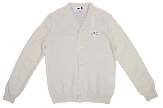 WHITE HEART PATCH NATURAL CARDIGAN MENS SOFTGOODS COMME DES GARCONS NATURAL M