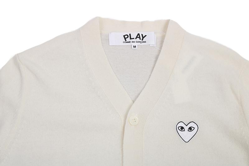 WHITE HEART PATCH NATURAL CARDIGAN MENS SOFTGOODS COMME DES GARCONS