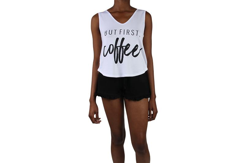 BUT FIRST COFFEE PJ SHORT SET WOMENS SOFTGOODS SLEEP WHITE/BLACK XS 217105