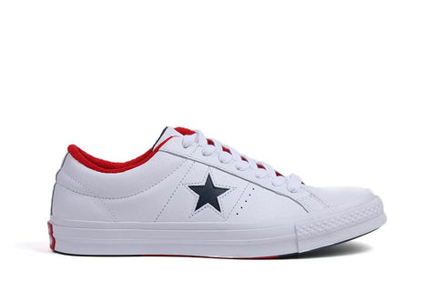 ONE STAR OX - 160555C MENS FOOTWEAR CONVERSE WHITE/ATHLETIC NAVY/ENAMEL RED 9.5