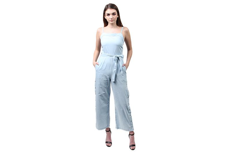 STREET SNAP SIDE JUMPSUIT WOMENS SOFTGOODS MINK PINK LIGHTBLUE XS ID18S1972
