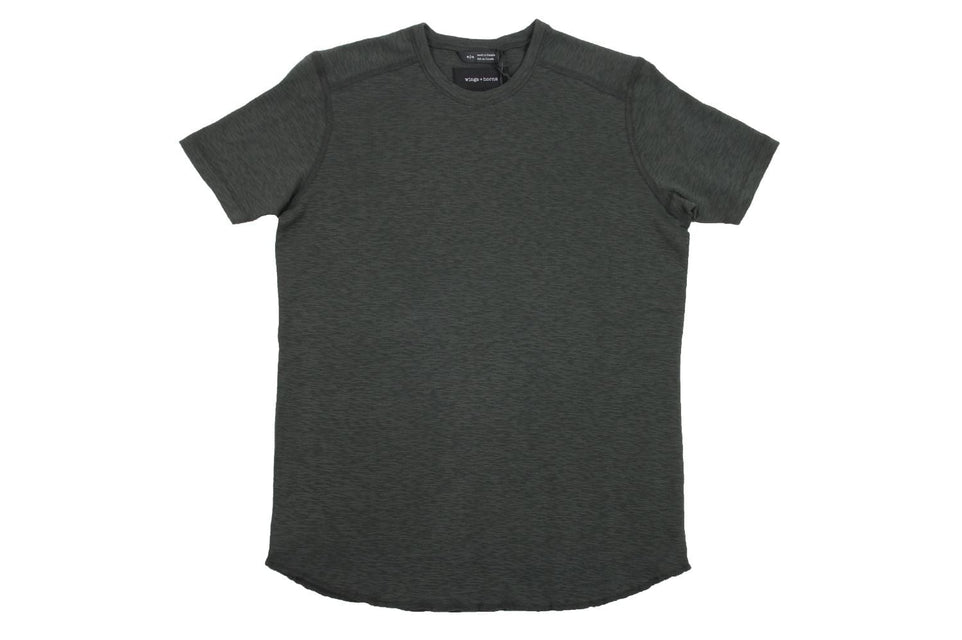 1X1 SLUB SHORT SLEEVE CREWNECK - WI-2075-3 MENS SOFTGOODS WINGS+HORNS JUNGLE GREEN S WI-2075-3