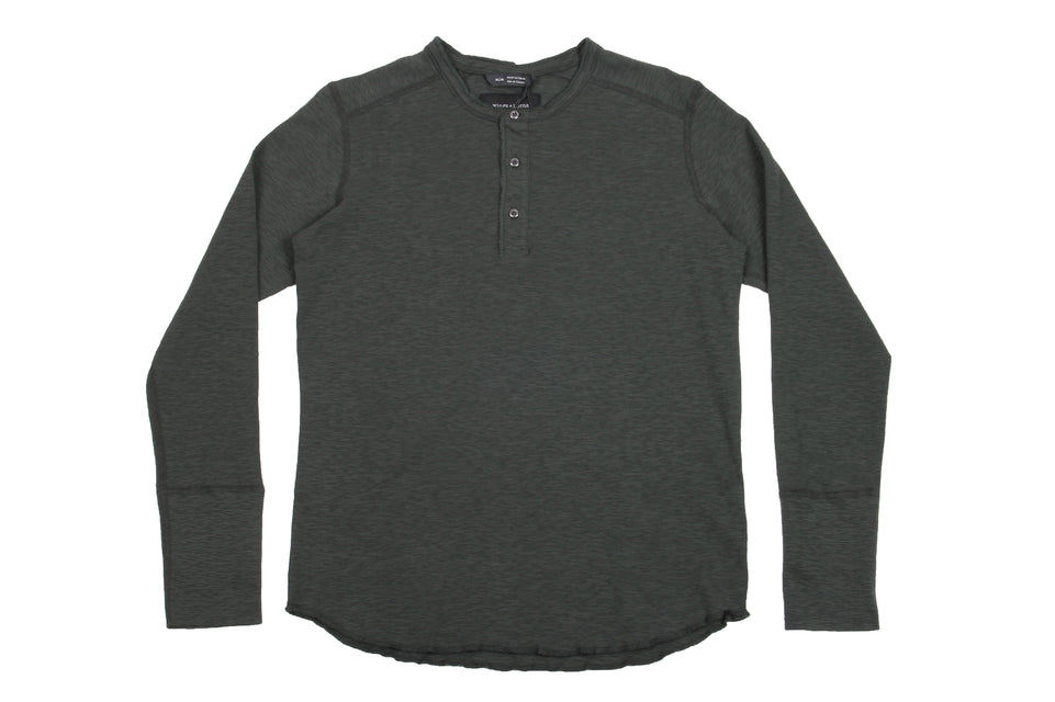 1X1 SLUB LONG SLEEVE HENLEY - WI-2112-1 MENS SOFTGOODS WINGS+HORNS JUNGLE GREEN M WI-2112-1