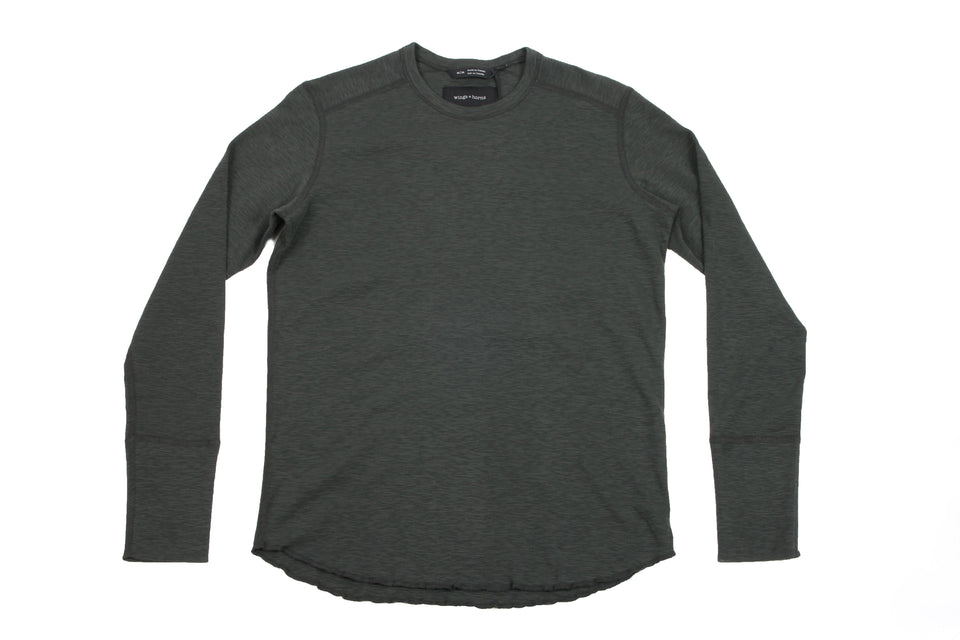 1X1 SLUB LONG SLEEVE CREWNECK - WI-2119 MENS SOFTGOODS WINGS+HORNS JUNGLE GREEN S WI-2119