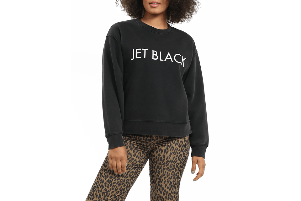 Jet Black Step Sister Crew Neck Sweatshirt. Front view.
