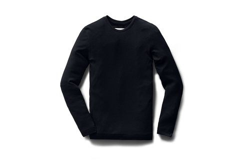 KNIT PIMA TERRY L/S NAVY CREW - RC-W3008