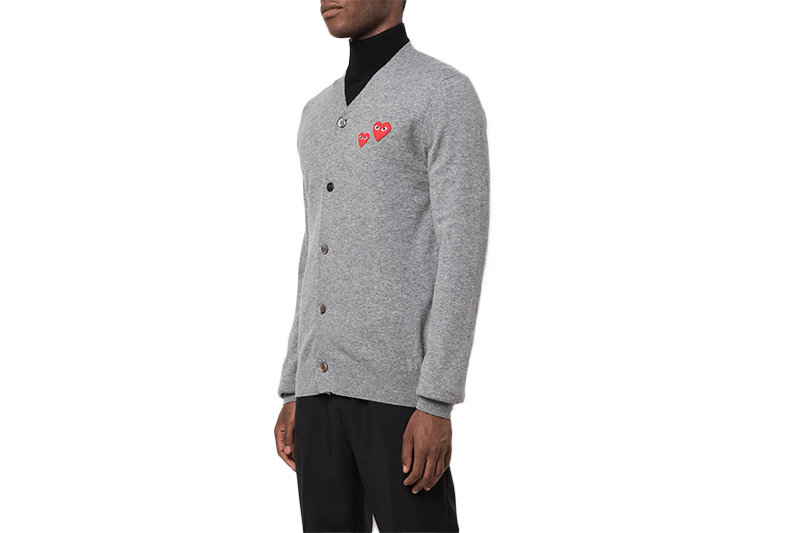 MENS CARDIGAN DOUBLE HEART-AZTN072 MENS SOFTGOODS COMME DES GARCONS