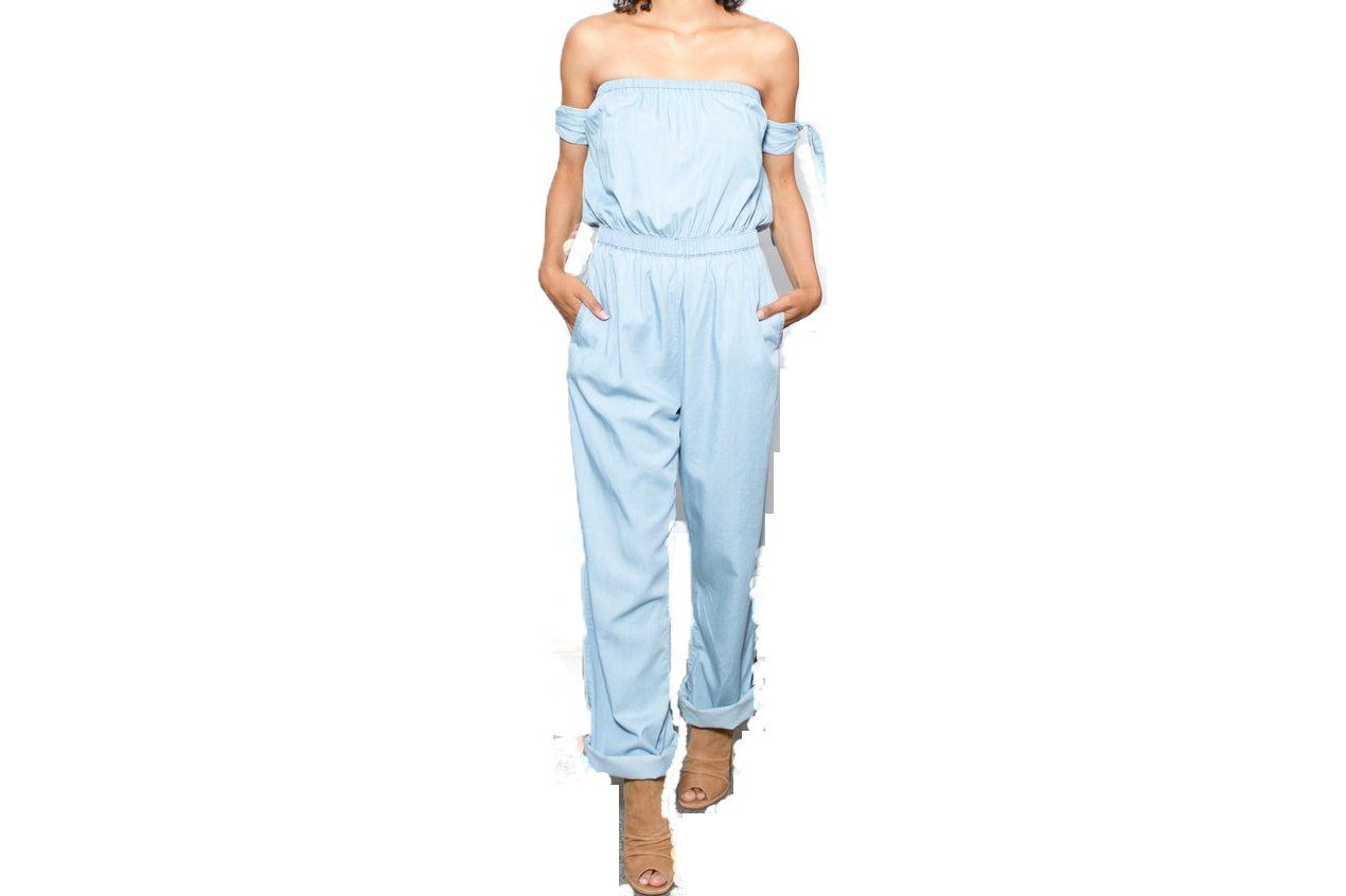 HIGH TIDE JUMPSUIT WOMENS SOFTGOODS MINK PINK LIGHTBLUE L