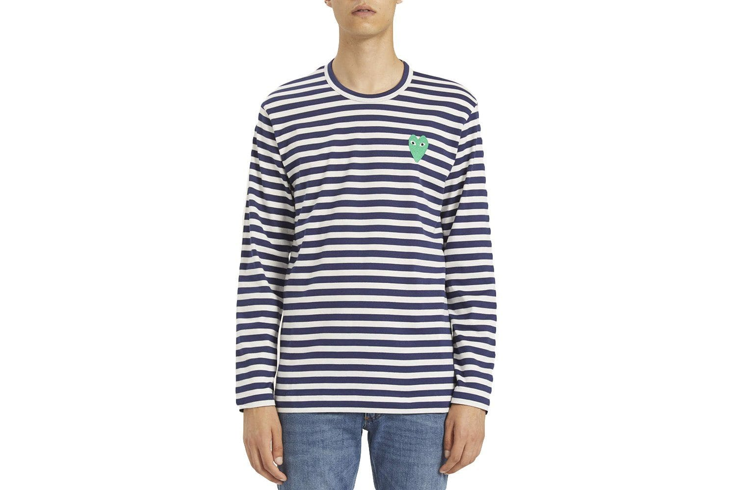 NAVY STRIPE GREEN STRETCH HEART MENS SOFTGOODS COMME DES GARCONS NAVY/WHITE L