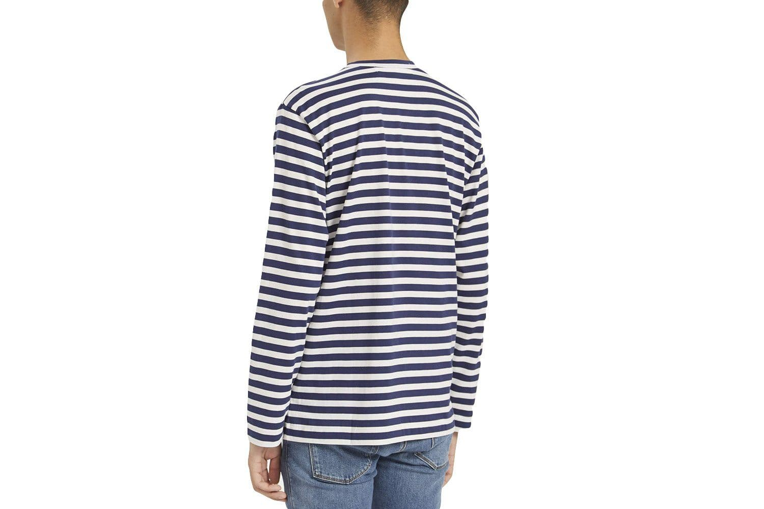 NAVY STRIPE GREEN STRETCH HEART MENS SOFTGOODS COMME DES GARCONS